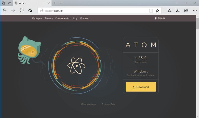 AtomインストールWindows